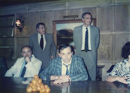 1988: Franco Malinverno con i fratelli Mariani titolari della Castello Banfi (sede di LongIsland - New York)