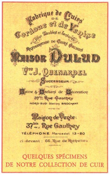 Maison Dulud, Paris, Parigi, Tapezzerie, Cuoio